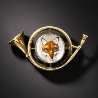 Reverse Crystal Fox and Hunting Horn Brooch