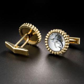 Reverse Crystal Intaglio Sailfish Cufflinks