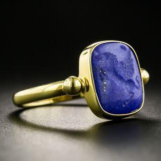 Revival Style 18K Carved Lapis Lazuli Ring