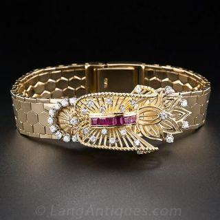 Rolex Retro 18K Diamond and Ruby Bracelet Watch