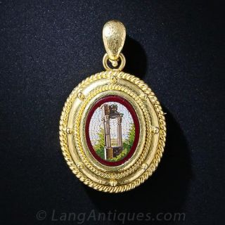 Roman Forum Micro-Mosaic Pendant and Brooch by Elizabeth Locke