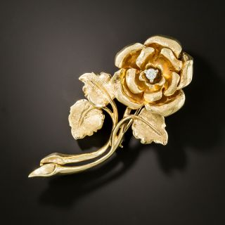 Estate Long Stem Rose Brooch with Diamond - 2