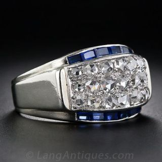 Rose-Cut Diamond and Synthetic Sapphire MId-Century Band Ring