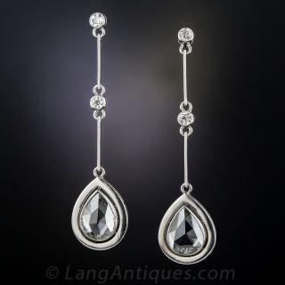 Rose-Cut Diamond Platinum Drop Earrings