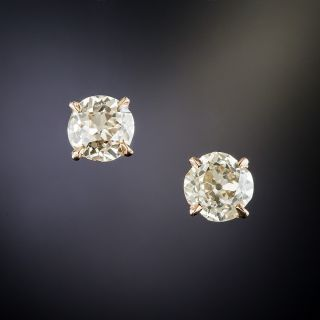 Rose Gold 1.72 Carat Old Mine-Cut Diamond Stud Earrings - 2