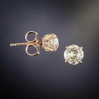 Rose Gold 1.72 Carat Old Mine-Cut Diamond Stud Earrings
