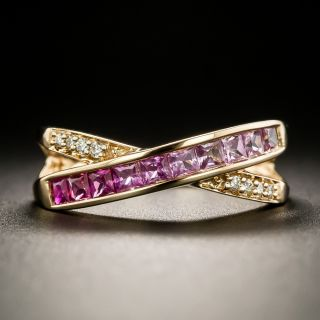 Rose Gold Diamonds and Pink Sapphires X Band - 3