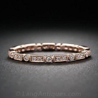 Rose Gold Micro Diamond Wedding Band - Size 4 1/2