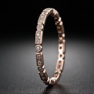 Rose Gold Micro Diamond Wedding Band - 1