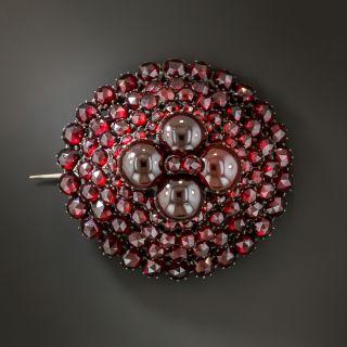 Round Bohemian Garnet Cluster  Brooch - 2