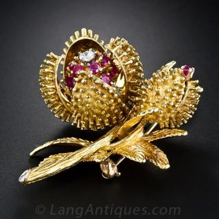 Ruby and Diamond Blossoming Chestnut Flower Brooch - 1