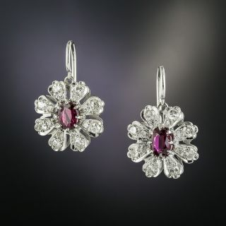 Ruby and Diamond Flower Earrings - 2