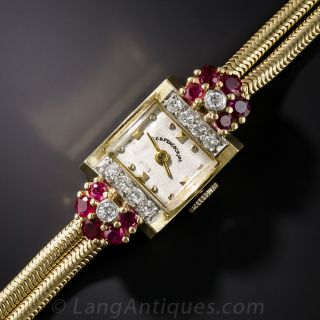 Ruby and Diamond Retro Watch by C.D. Peacock