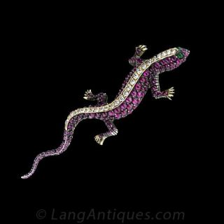 Ruby and Diamond Salamander Brooch
