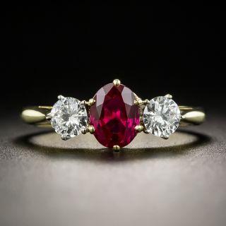 Ruby And Diamond Three-Stone Ring - By Garrard - 2
