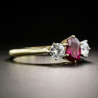 Ruby And Diamond Three-Stone Ring - By Garrard