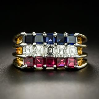 Ruby, Diamond and Sapphire Ring by Oscar Heyman - 2