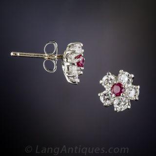 Ruby & Diamond Flower Studs