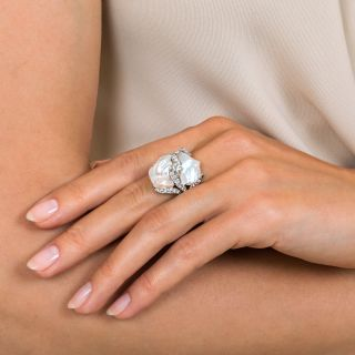 Ruser Freshwater Pearl and Diamond Ring