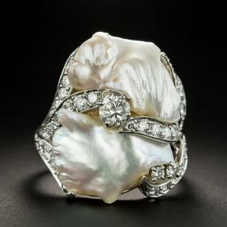 Ruser Freshwater Pearl and Diamond Ring - 2