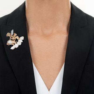 Ruser Large Pearl and Diamond Angel Brooch