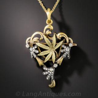 Russian Art Nouveau Cannabis Leaf Necklace/Brooch