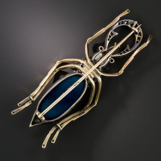 Russian Blue Agate Diamond Sapphire and Ruby Beetle Brooch