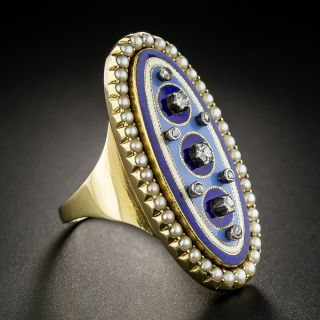 Russian Enamel Locket Ring with Diamonds and Pearls