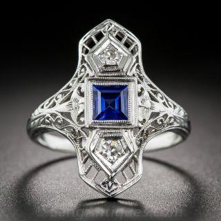 Sapphire and Diamond Art Deco Dinner Ring