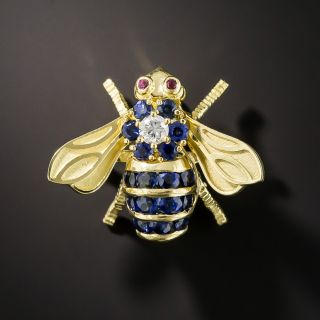 Sapphire and Diamond Bee Pin with Ruby Eyes by Rosenthal