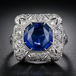 Sapphire and Diamond Filigree Ring - 1