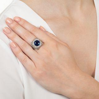 Sapphire and Diamond Filigree Ring