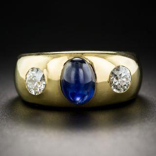 Sapphire and Diamond Three-Stone Ring, French - 2