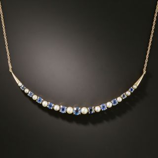Sapphire and Pearl Crescent Necklace  - 2