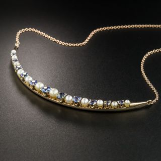 Sapphire and Pearl Crescent Necklace