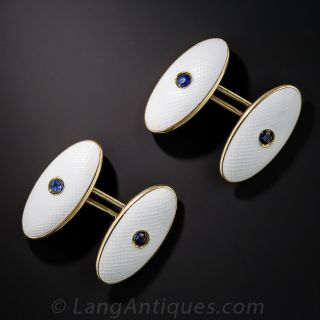 Sapphire and White Enamel Cufflinks