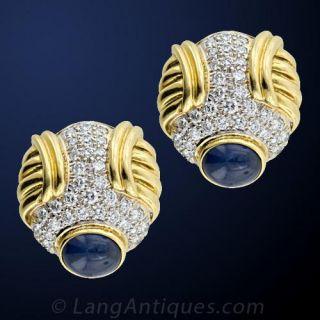 Estate Diamond Sapphire Gold Earrings