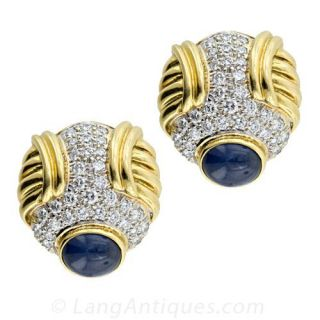 Sapphire Diamond Yellow and White Gold Earrings