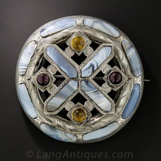 Scottish Montrose Agate and Silver Brooch