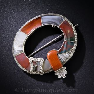 Scottish Silver and Agate Garter Brooch - 1