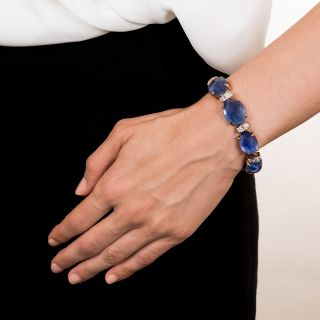 Seaman Schepps Cabochon Sapphire and Diamond Bracelet - 165 Carats