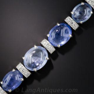 Seaman Schepps Cabochon Sapphire, Platinum and Diamond Bracelet