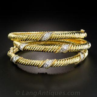 Set of Three 18K Diamond Bangle Bracelets