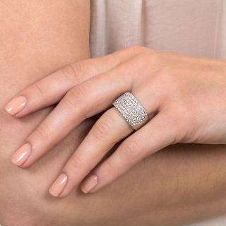 Seven Row Diamond Platinum Band Ring