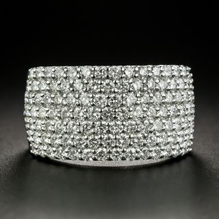 Seven Row Diamond Platinum Band Ring - 3