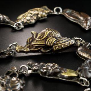 Shakudo Menuki Silver Backed Necklace - 5