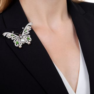 Shreve and Co. Edwardian Natural Pearl, Demantoid and Diamond Butterfly - GIA