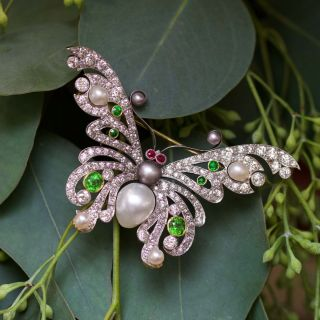 Shreve and Co. Edwardian Natural Pearl, Demantoid and Diamond Butterfly - GIA - 4