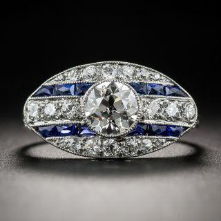 Shreve & Co Art Deco Diamond and Calibre Sapphire Ring