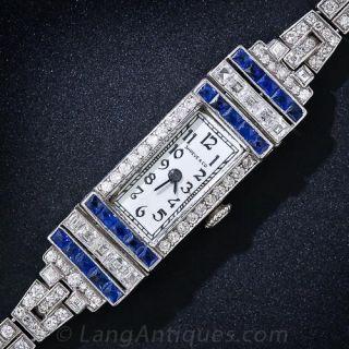 Shreve & Co. Art Deco Diamond and Sapphire Bracelet Watch